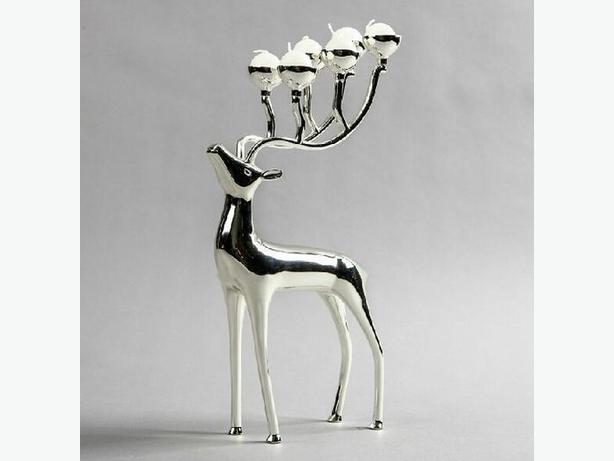 New Silver Reindeer Candelabra Candle Holders - $85 obo