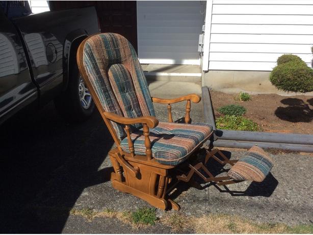 wooden Shermag glider rocker recliner