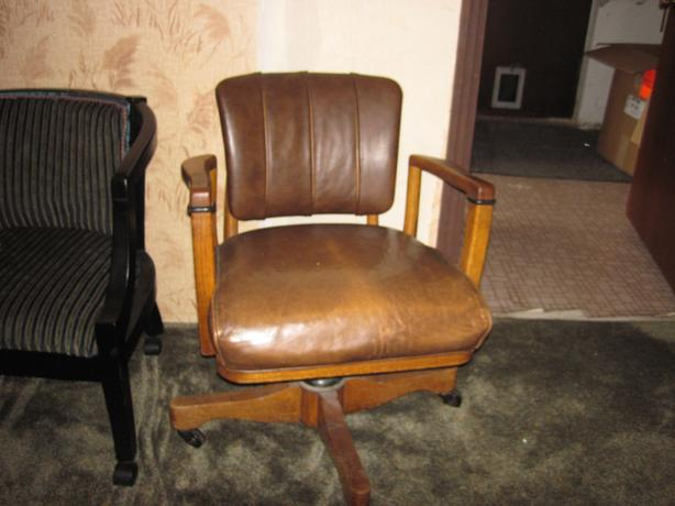 Antique Oak and Leather Office Chair