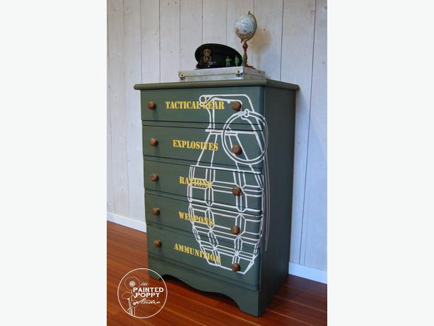 Children's Sized Military Themed Dresser