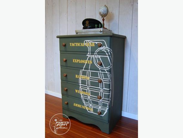 Children's Sized Military Themed Dresser