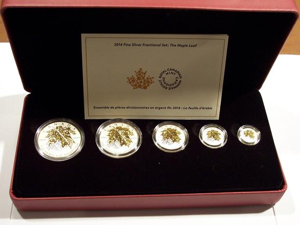 2014 5-Piece, Gold-Plated Silver Maple Leaf Fractional Set