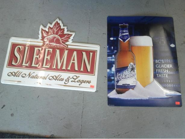 Tin Beer Signs (Only the Kokanee Sign left.)