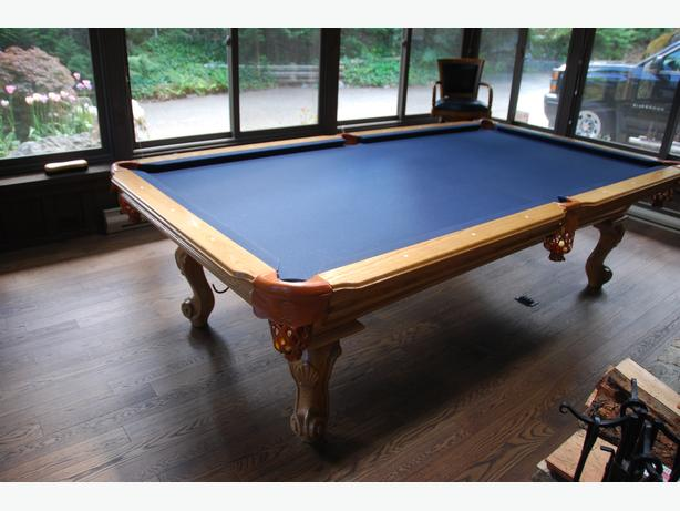 Solid Wood and Slate Billiards Table and Accesories