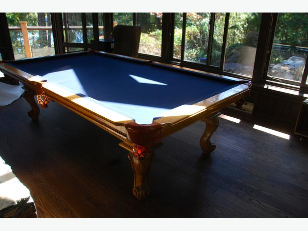 Solid Wood and Slate Billiards Table