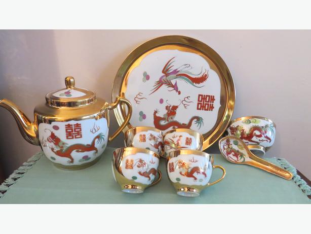 Vintage Chinese Dragon & Phoenix Tea Set