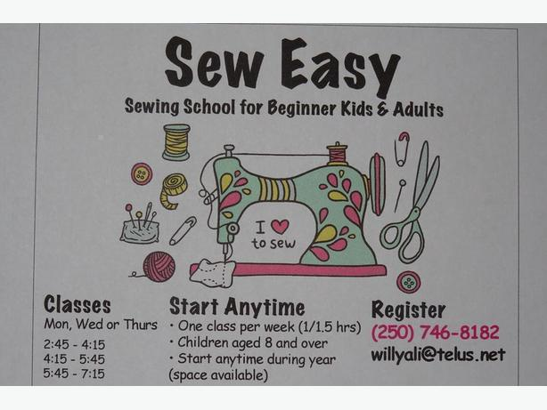 Beginner Sewing lessons for children and Adults