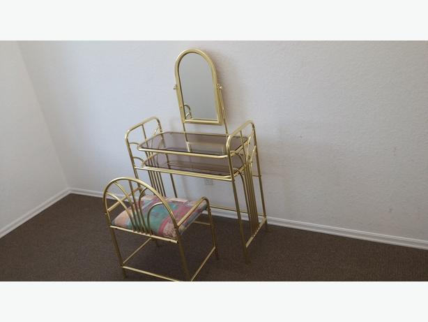 BRASS AND GLASS SHELVES VANITY WITH REFINISHED BENCH/GREAT GIFT OR FOR YOURSELF