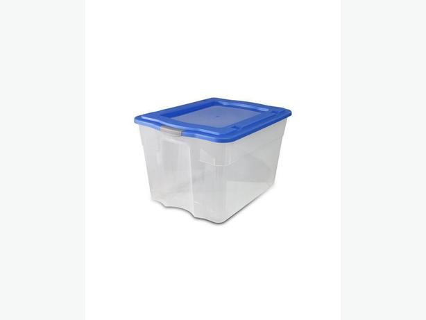 VISION Stacking Tote Storage Box Bin with Latch Closure lid - 80L
