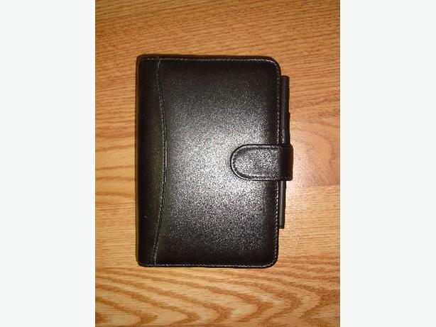Like New Black Leather Holder Address Book Notes, Etc. - $3
