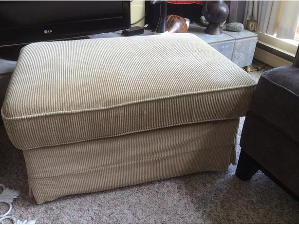 Foot stool (Beige corduroy) - EXCELLENT CONDITION!