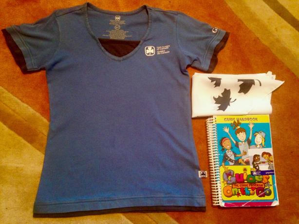 Girl Guides shirt (adult small), scarf, and program book