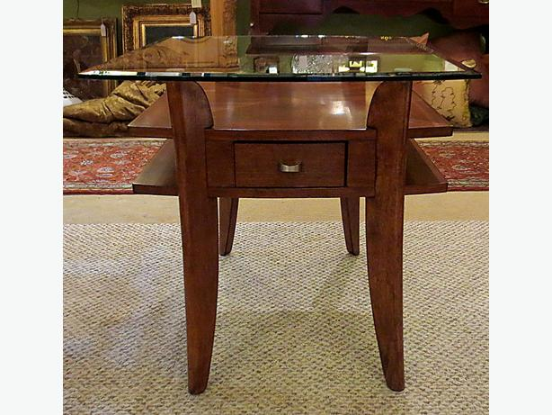 Mahogany Side Table with Glass Top- - MCard,Visa, Delivery