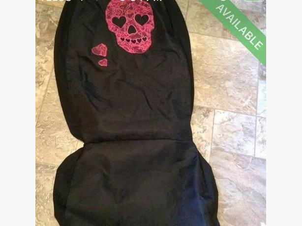 pink skull seat cover