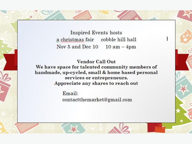 Inspired Events -A Christmas Fair -Accepting Vendors