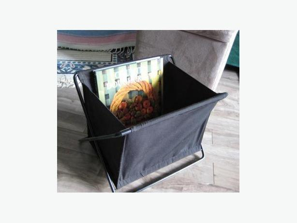 Black Metal and Canvas Magazine/Book Holder