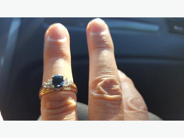 14k gold rings, sapphire and diamonds