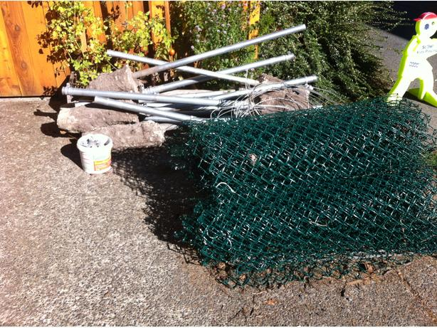 Chain Link Fencing 150 Feet Posts Hardware Two Gates