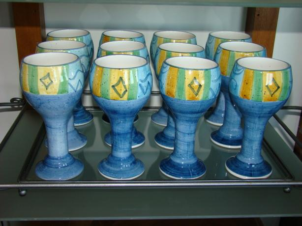 Ceramic Wine Goblets with Serving Tray