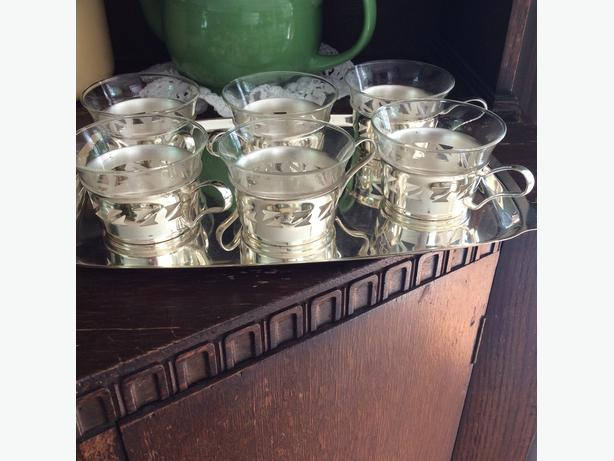 Silver Tea Cup Set and Tray