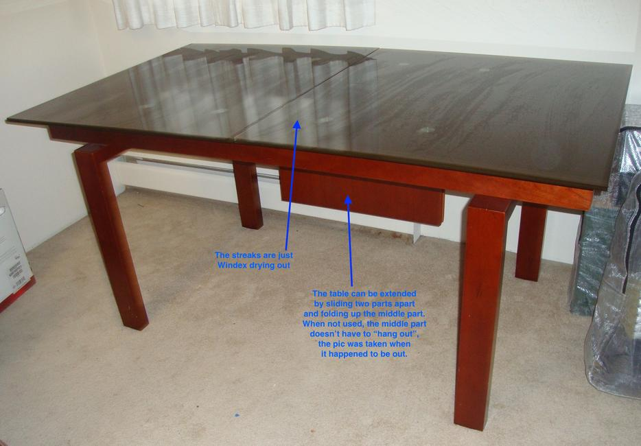 Quality wood and glass extendable dining table Victoria  : 55114110934 from www.usedvictoria.com size 934 x 650 jpeg 64kB