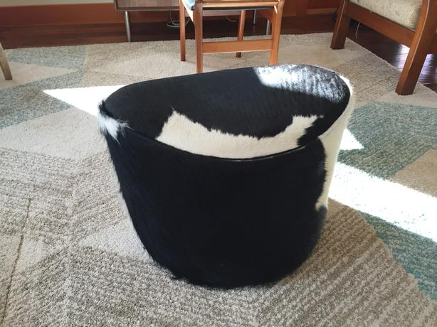 Cow Hide Foot Stool, Modern Scandinavian
