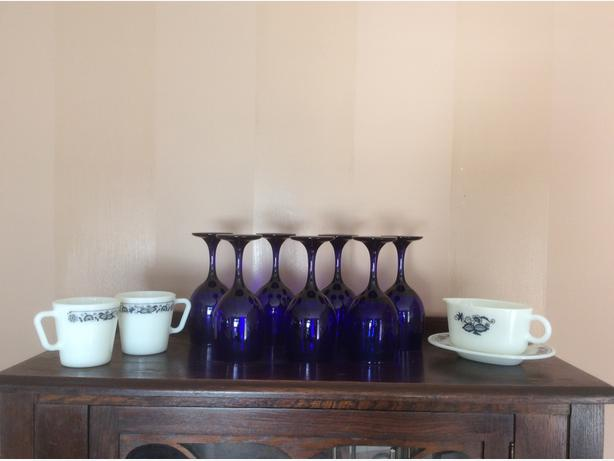 pyrex Old Town Blue OR seven cobalt blue wine glasses