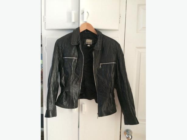 Ladies Faux Black Leather Jacket (M)