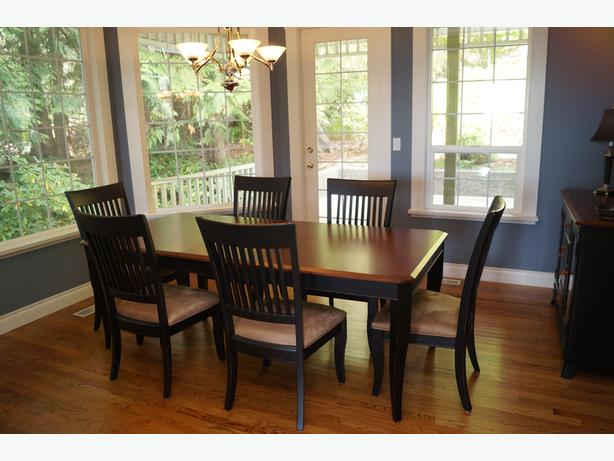 beautiful dining room table 6 chairs and hutch reduced sooke