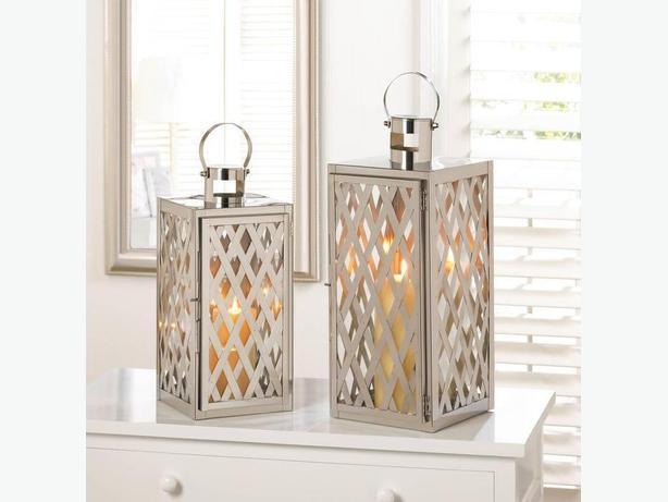 Silvery Lattice Design Steel Candleholder Lantern Large & Small 2PC Mix New