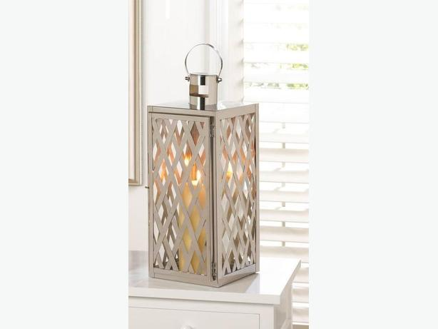 Silver Lattice Design Steel Candleholder Lantern & Candle New