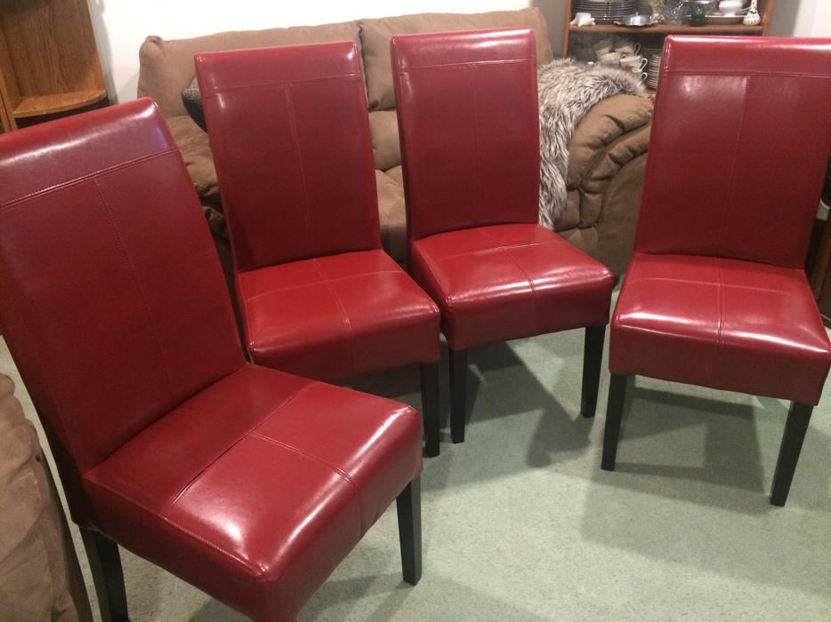 Genuine red leather dining chairs east regina regina for Genuine leather dining room chairs