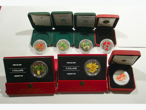 The Complete 7-Coin Coloured Silver Maple Leaf Set