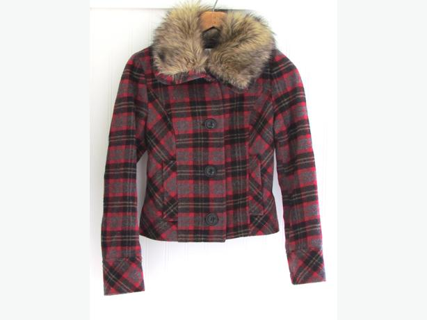 Forever 21 Plaid Wool Jacket with Faux Fur Collar - Size Small