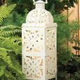 Tall Ornate Candleholder Lantern Intricate Cutouts Glossy White Set of 2 New