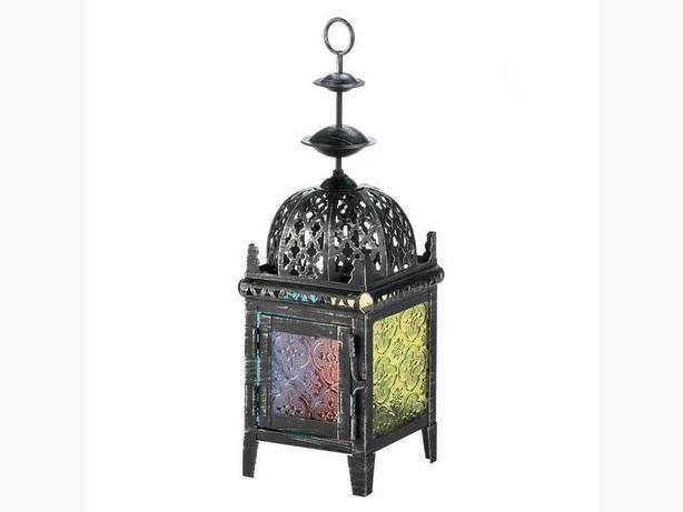 Black Candleholder Lantern Multi-Color Glass Panels 4 Lot + Candles