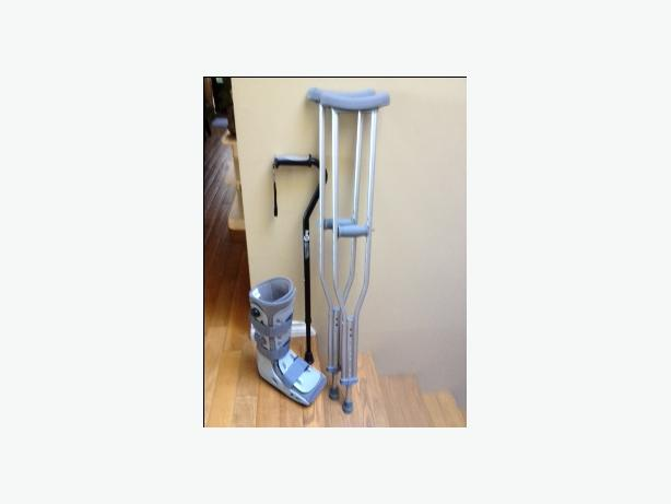 Complete ankle/leg injury recovery package: Aircast Med, crutches, & cane.