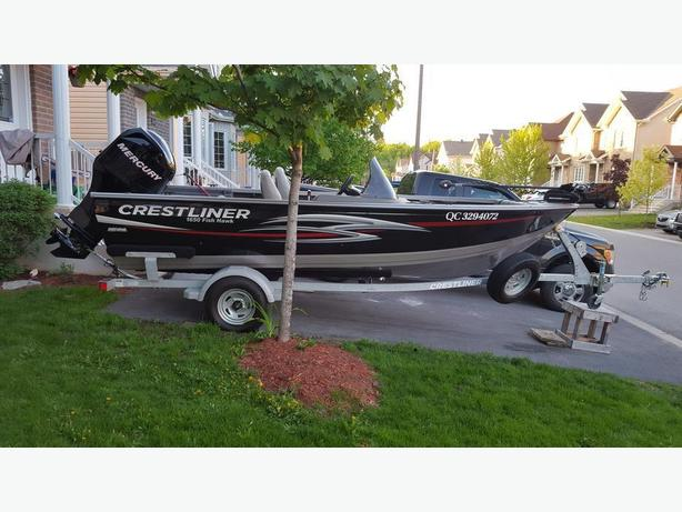 Nearly new Crestliner Fishhawk 1650, motor and trailer package