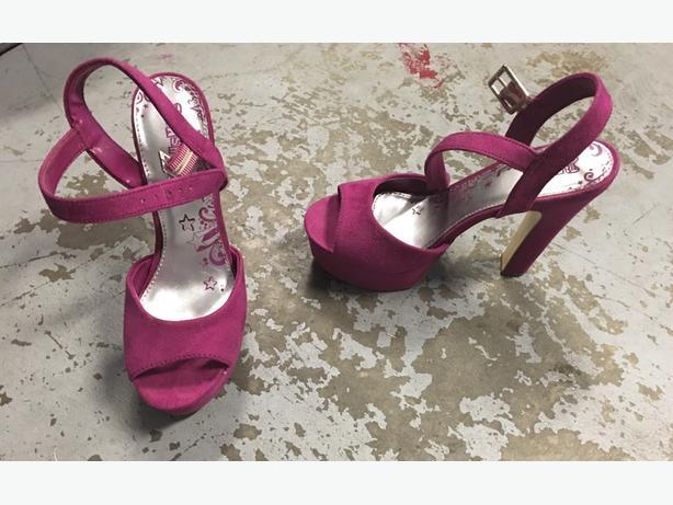 Pink suede heels