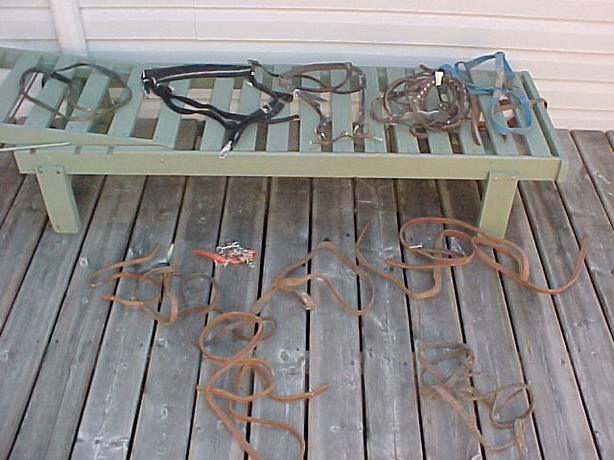 Box of Misc Harness Straps & 2 Horse Bits Etc For Country Display