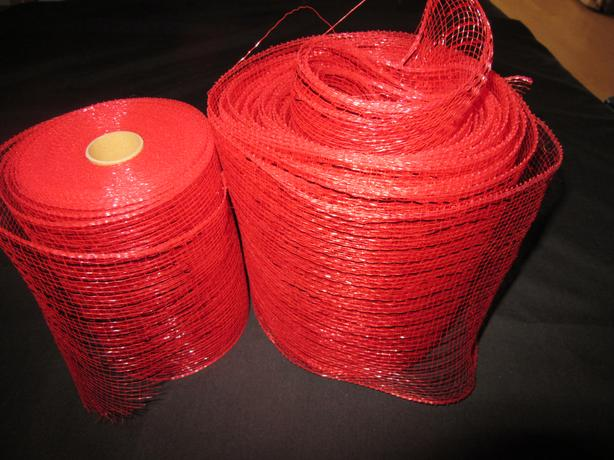 WIDE MESH RIBBON (Red; Black; & Silver)