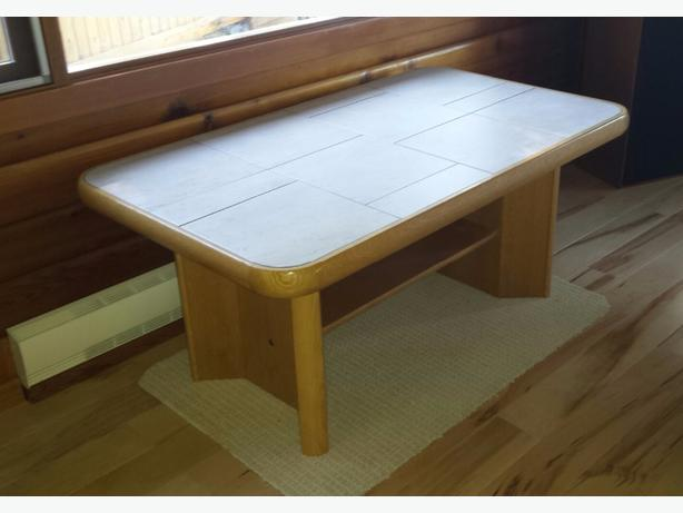solid oak coffee table with ceramic top