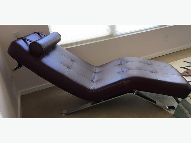 Leather chaise lounge qualicum nanaimo - Chaise design montreal ...