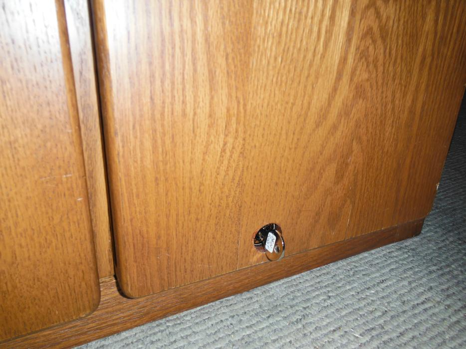 Locking Tall Oak Bookshelf Or Cabinet With Glass Doors