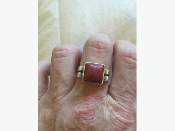 Red Coral 925 Silver Ring