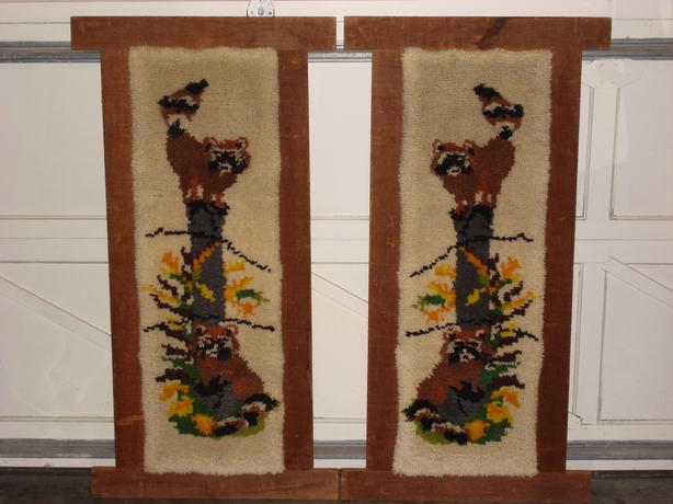 2 WOOL HOOK RUGS OF RACOONS ON A STUMP