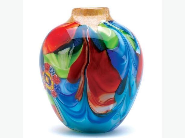 Stunning Multi-Color Floral Design Art Glass Jug-Shaped Decorative Vase New