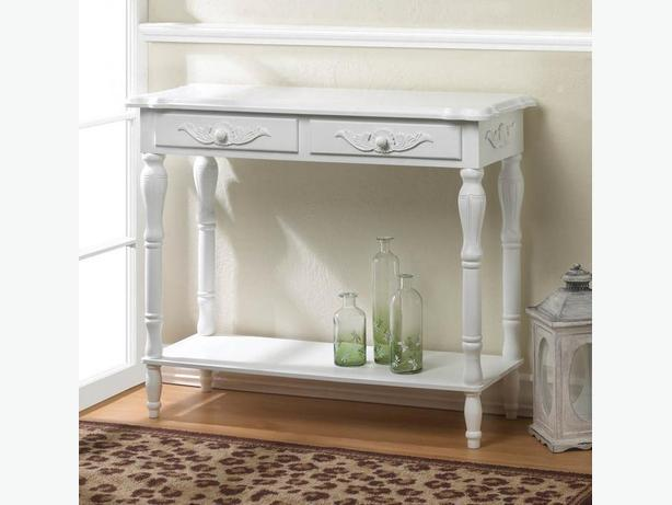 Decorative White Wood Console Hall Table With 2 Drawers & Display Shelf New