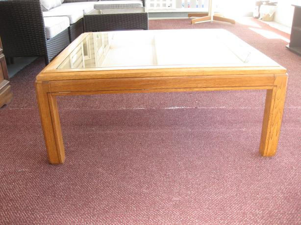 Table -Glass Top with wood sidings - Brown Grain.