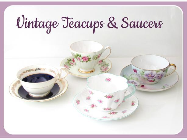 Assorted Vintage Teacups & Saucers - Shelley, Aynsley...